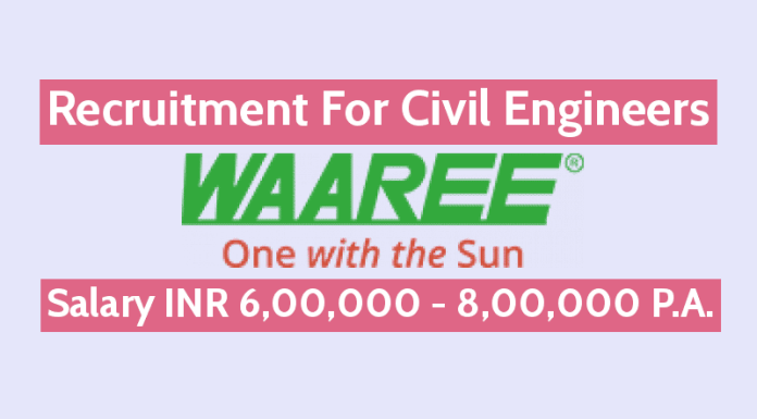 Waaree Energies Ltd Recruitment For Civil Engineers Salary INR 6,00,000 - 8,00,000 P.A.