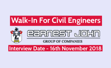 Earnest John Co. Ltd Walk-In For Civil Engineers Interview Date - 16th November 2018