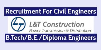 L&T ECC Recruitment For Civil Engineers B.TechB.E.Diploma Engineers