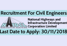 NHIDCL Recruitment 2018 For Civil Engineers - Last Date to Apply 30112018