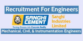Sanghi Industries Limited Recruitment For Engineers Mechanical, Civil, & Instrumentation Engineers