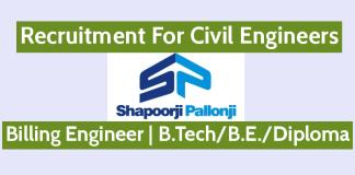 Shapoorji Pallonji Recruitment For Civil Engineers Billing Engineer B.TechB.E.Diploma Engineers