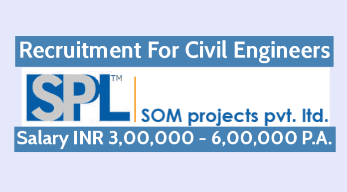 Som Projects Pvt Ltd Recruitment For Civil Engineers Salary INR 3,00,000 - 6,00,000 P.A.