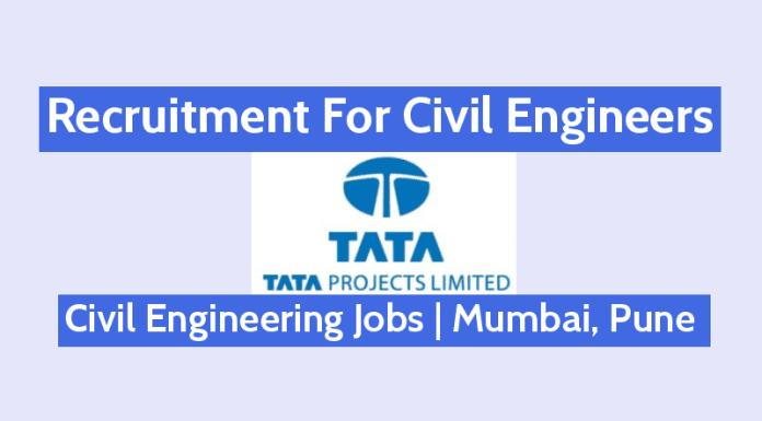 Tata Projects Limited Civil Engineering Jobs Mumbai, Pune B.TechB.E.