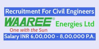 Waaree Energies Ltd Recruitment For Civil Engineers Salary INR 6,00,000 - 8,00,000 P.A.