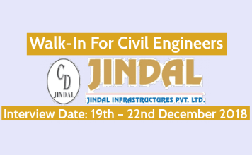 Jindal Infrastructures Pvt Ltd Walk-In For Civil Engineers Interview Date 19th – 22nd December 2018