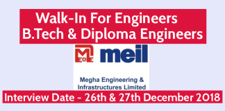 MEIL Walk-In For Engineers B.Tech & Diploma Engineers Interview Date - 26th & 27th December 2018