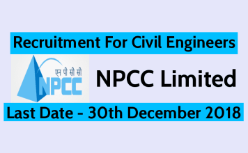 NPCC Recruitment 2018 For Civil Engineers Last Date - 30th December 2018