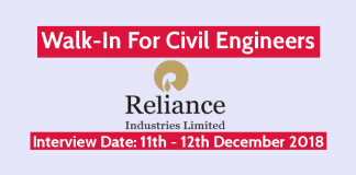 Reliance Industries Ltd Walk-In For Civil Engineers Interview Date 11th - 12th December 2018