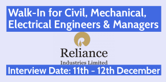 Reliance Walk-In for Civil, Mechanical, Electrical Engineers & Managers 11th - 12th December India