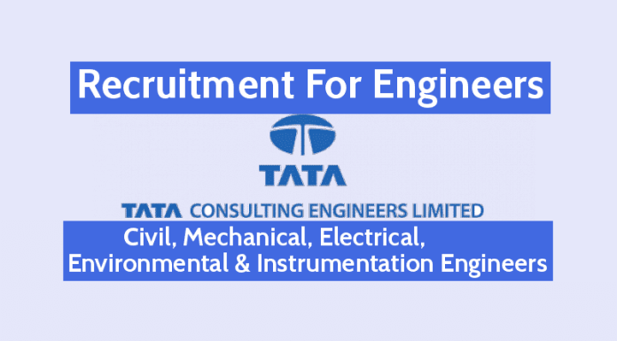TATA Consulting Engineers Ltd Hiring Engineers 24 Vacancies Civil, Mechanical, Electrical, Environmental & Instrumentation Engineers