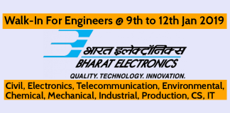 BEL Walk-In For Engineers @ 9th to 12th Jan 2019