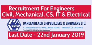GRSE Recruitment For Engineers - Civil, Mechanical, CS, IT & Electrical Last Date - 22.01.2019