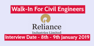 Reliance Industries Ltd Walk-In For Civil Engineers Interview Date - 8th - 9th January 2019