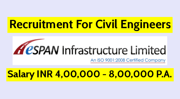 Espan Infrastructure (I) Ltd Hiring Civil Engineers Salary INR 4,00,000 - 8,00,000 P.A.