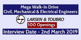 L&T Mega Walk-In Drive For Civil, Mechanical & Electrical Engineers 100 Openings Interview Date - 2nd March 2019