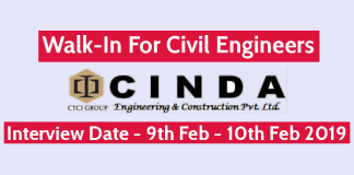 Walk-In For Civil Engineers 9th Feb - 10th Feb 2019 CINDA Engineering & Construction Pvt Ltd