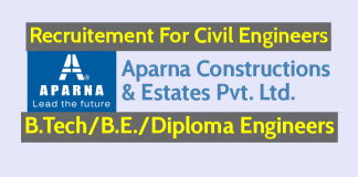 Aparna Constructions Recruiting Civil Engineers B.TechB.E.Diploma Engineers - Check Now