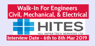 HITES Recruitment 2019 Walk-In For Engineers Civil, Mechanical, & Electrical Interview Date - 6th to 8th Mar 2019