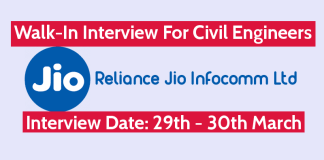 Reliance Jio Infocomm Ltd Walk-In Interview For Civil Engineers Interview Date 29th - 30th March