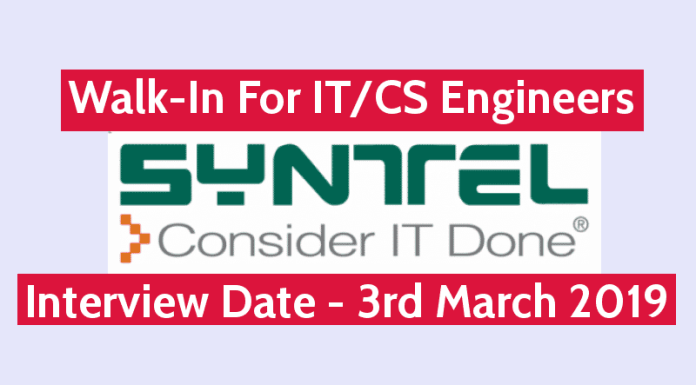 Syntel Pvt Ltd Walk-In For ITCS Engineers Interview Date - 3rd March 2019