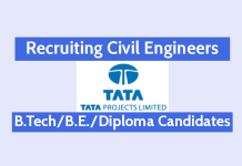 Tata Projects Ltd Recruiting Civil Engineers B.TechB.E.Diploma Candidates Are Eligible