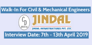 Jindal Infrastructures Pvt Ltd Walk-In For Civil & Mechanical Engineers Interview Date 7th - 13th April 2019