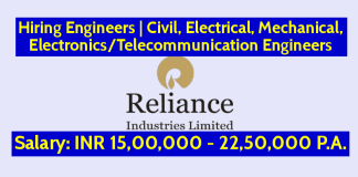 Reliance Industries Ltd Is Hiring Engineers Civil, Electrical, Mechanical, ElectronicsTelecommunication Engineers