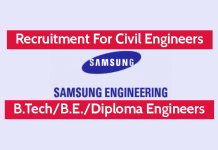 Samsung Engineering India Recruitment For Civil Engineers B.TechB.E.Diploma Engineers