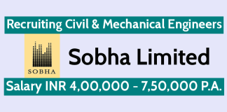 Sobha Limited Recruiting Civil & Mechanical Engineers Salary INR 4,00,000 - 7,50,000 P.A.
