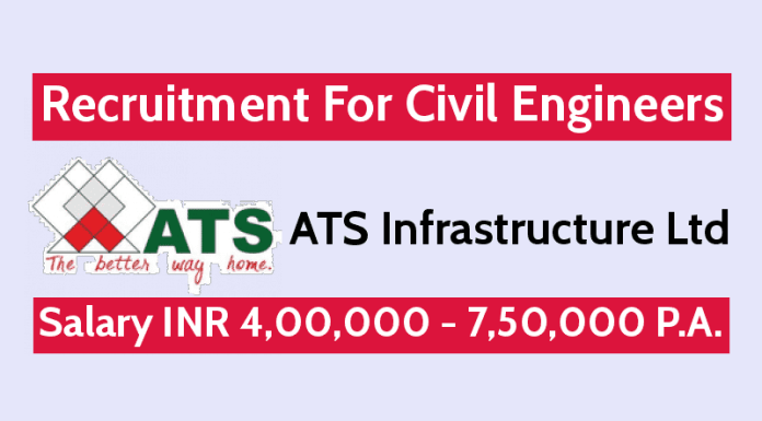 ATS Infrastructure Ltd Is Hiring Civil Engineers Salary INR 4,00,000 - 7,50,000 P.A.
