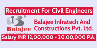 Balajee Infratech Recruitment For Civil Engineers | Salary INR 12,00,000 - 20,00,000 P.A.