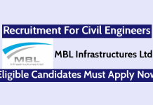 MBL Infrastructures Ltd Recruitment For Civil Engineers Eligible Candidates Must Apply Now