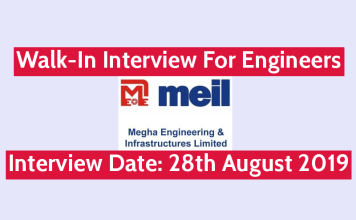MEIL Walk-In Interview For Engineers Interview Date 28th August 2019