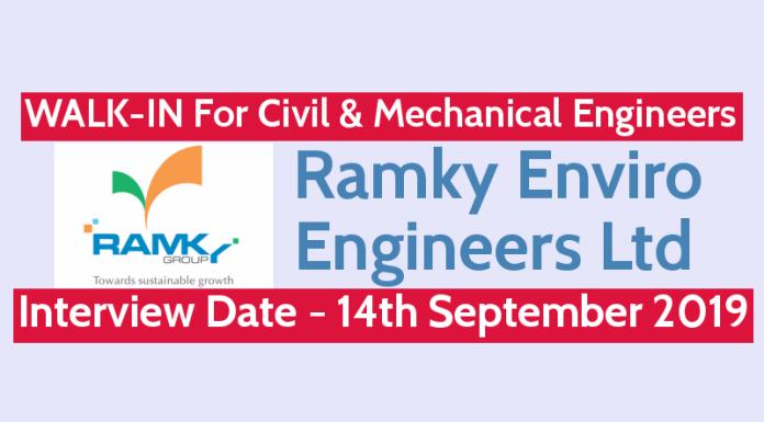 Ramky Enviro Engineers Ltd WALK-IN For Civil & Mechanical Engineers Interview Date - 14th September 2019