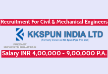 KK Spun India Ltd Recruitment For Civil & Mechanical Engineers Salary INR 4,00,000 - 9,00,000 P.A.