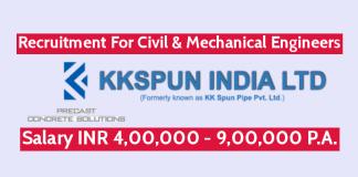 KK Spun India Ltd Recruitment For Civil & Mechanical Engineers Salary INR 4,00,000 - 9,00,000 P.A.