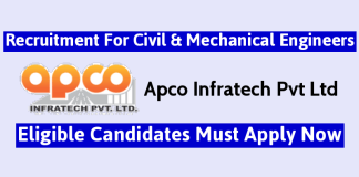 Apco Infratech Pvt Ltd Recruitment For Civil & Mechanical Engineers Eligible Candidates Must Apply Now