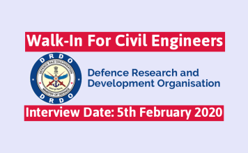 DRDO Walk-In For Civil Engineers Interview Date 5th February 2020