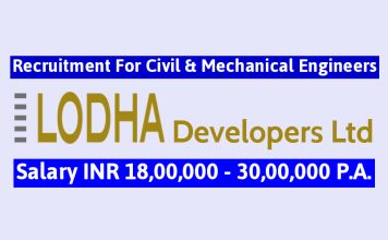 Lodha Developers Ltd Recruitment For Civil & Mechanical Engineers Salary INR 18,00,000 - 30,00,000 P.A.