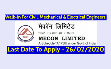 MECON Limited Walk-In For Civil, Mechanical & Electrical Engineers Last Date - 26-02-2020