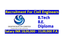 Dilip Buildcon Ltd Recruitment For Civil Engineers Salary INR 18,00,000 - 33,00,000 P.A.