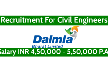 Dalmia Bharat Ltd Recruitment For Civil Engineers Salary INR 4,50,000 - 5,50,000 P.A.