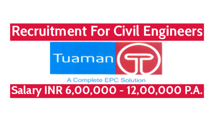 Tuaman Engineering Ltd Recruitment For Civil Engineers Salary INR 6,00,000 - 12,00,000 P.A.