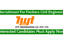 HYT Engineering Company Pvt Ltd Recruitment For Freshers Civil Engineers Interested Candidates Must Apply Now