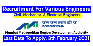 MMRDA Recruitment For Civil, Mechanical & Electrical Engineers Last Date To Apply 8th February 2021