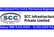SCC Infrastructure Pvt Ltd Recruitment For Civil & Mechanical Engineers Salary INR 9,00,000 - 12,00,000 P.A.