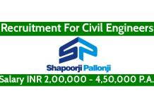 Shapoorji Pallonji Recruitment For Civil Engineers Salary INR 2,00,000 - 4,50,000 P.A.