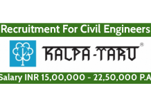 Kalpataru Limited Recruitment For Civil Engineers Salary INR 15,00,000 - 22,50,000 P.A.