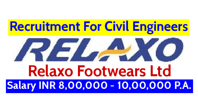 Relaxo Footwears Ltd Recruitment For Civil Engineers Salary INR 8,00,000 - 10,00,000 P.A.